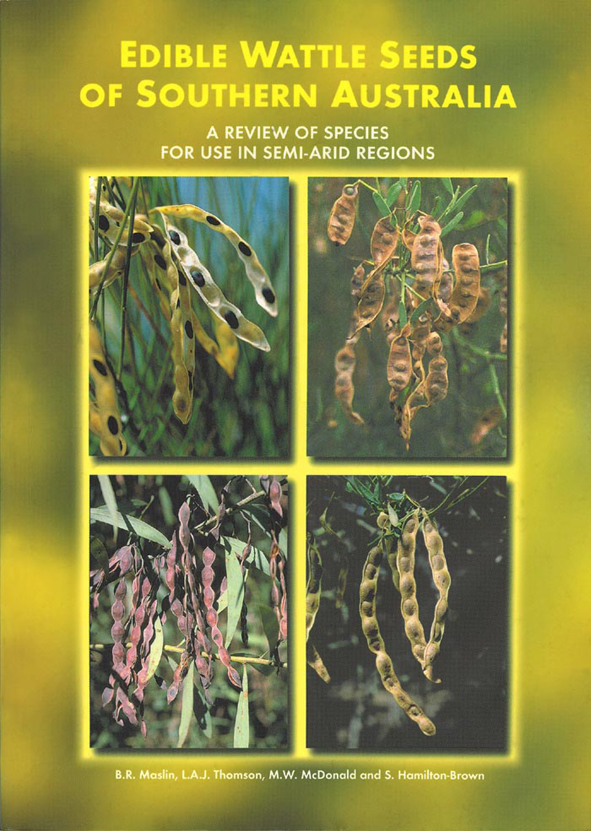 The cover image featuring four rectangular images of edible wattle seeds,