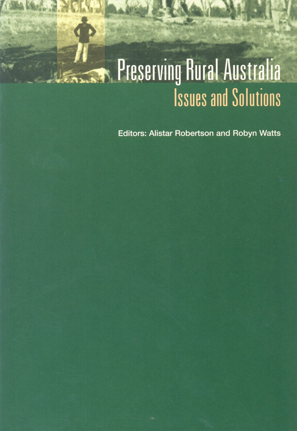 The cover image of Preserving Rural Australia, featuring a thin strip, gre