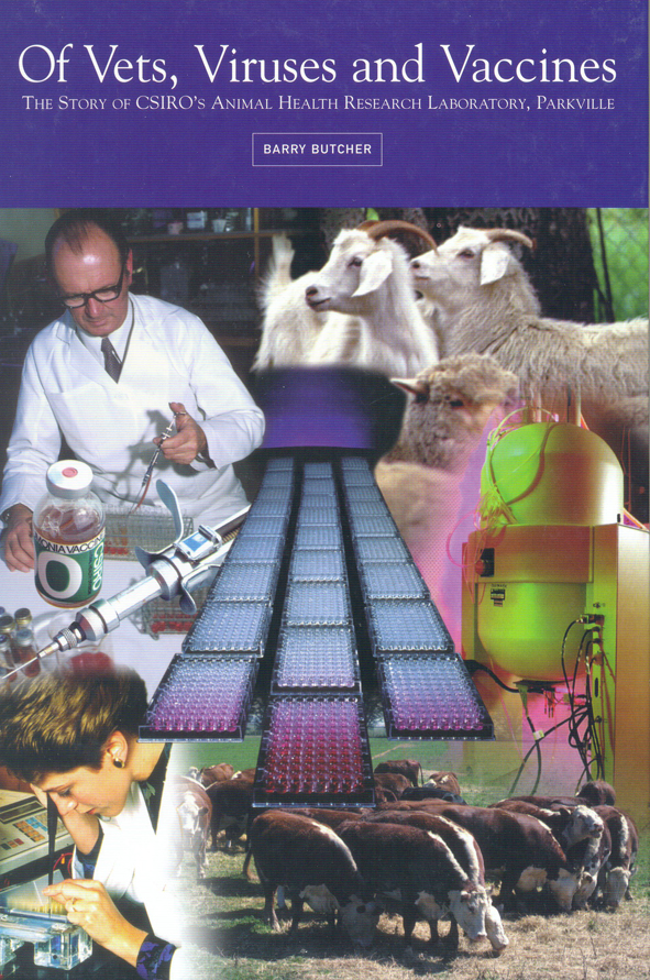 The cover image of Of Vets, Viruses and Vaccines, featuring a collection o