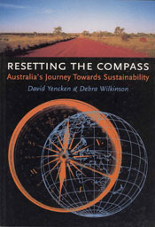 The cover image of Resetting the Compass, featuring an orange compass outl