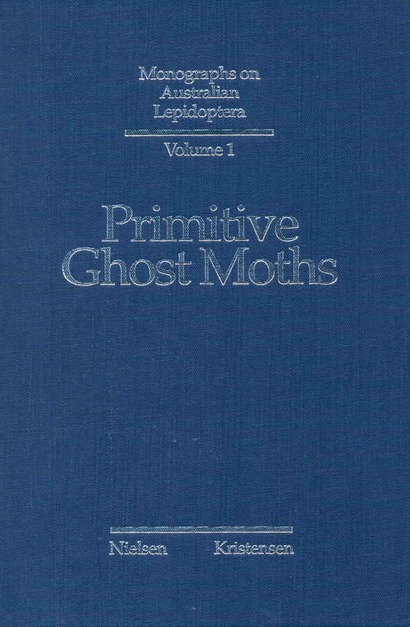 The cover image of Primitive Ghost Moths, is plain blue with silver text.