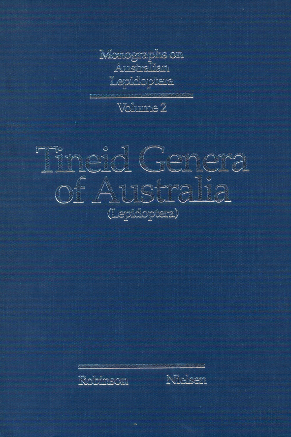 The cover image of Tineid Genera of Australia (Lepidoptera), is plain blue