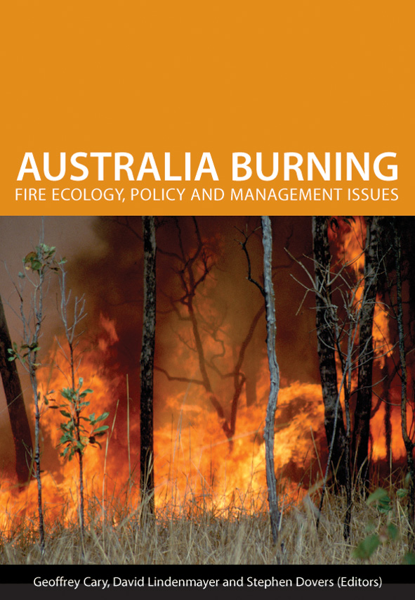 The cover image of Australia Burning, featuring a raging fire, with trees