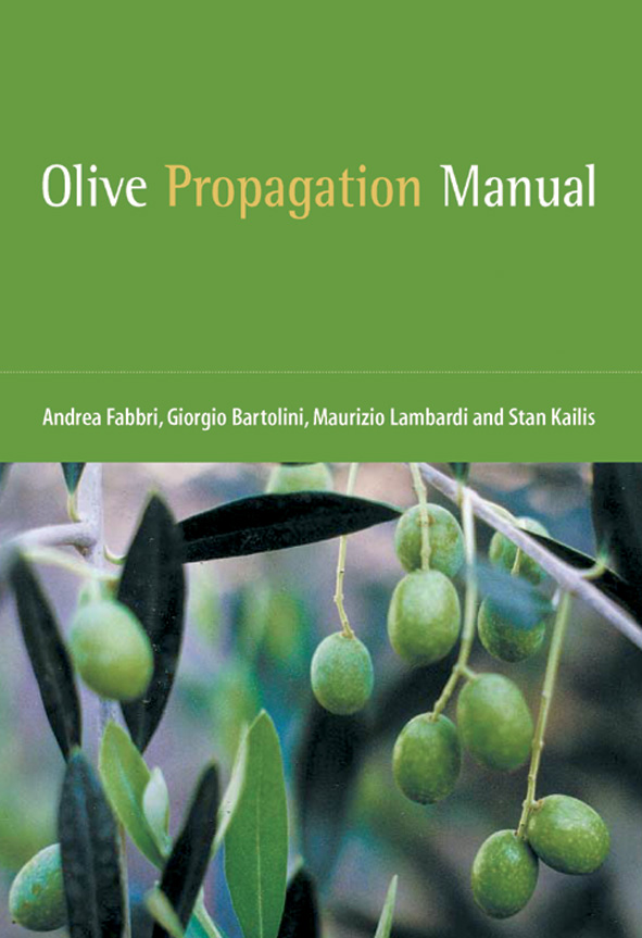 The cover image of Olive Propagation Manual, featuring green olives dangli