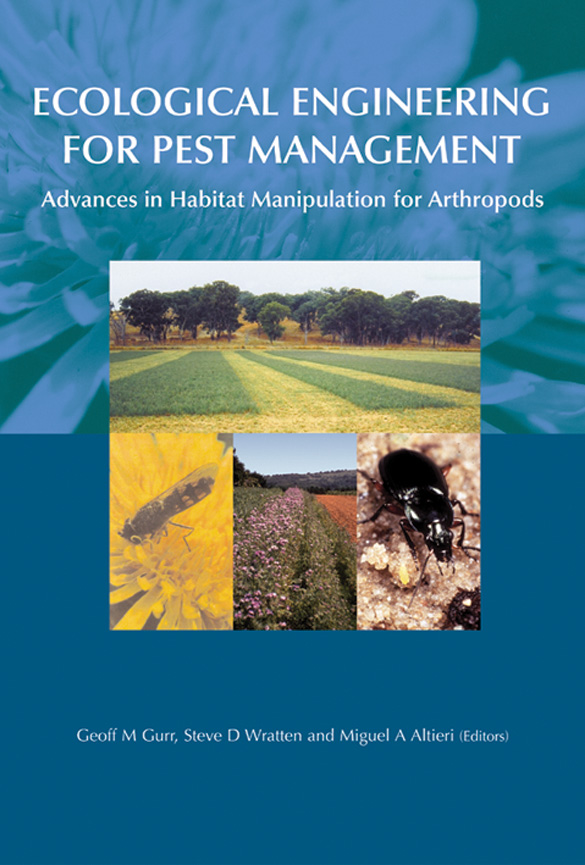 The cover image of Ecological Engineering for Pest Management, featuring f