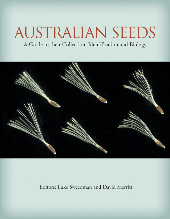The cover image of Australian Seeds, featuring six seeds with fine white h
