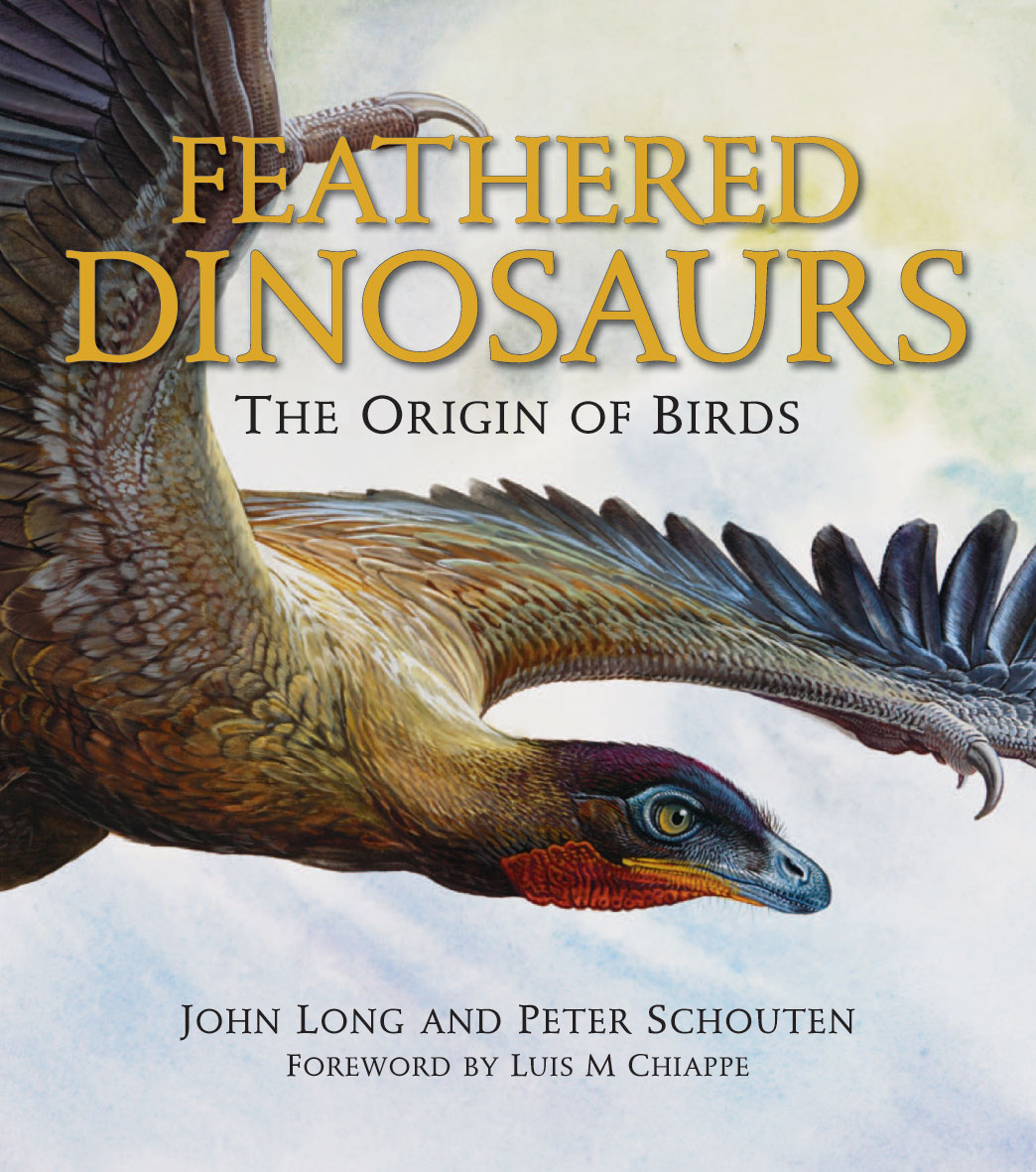 The cover image of Feathered Dinosaurs, featuring a picture of a feathered