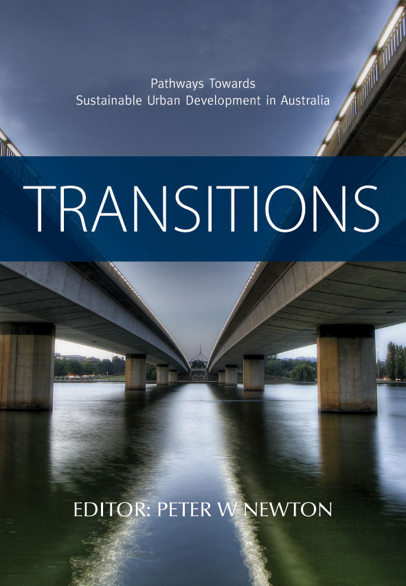 The cover image of Transitions, featuring the under side of two bridges vi