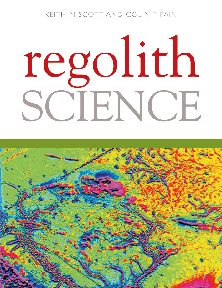 The cover image of Regolith Science, featuring bright almost fluorescent c