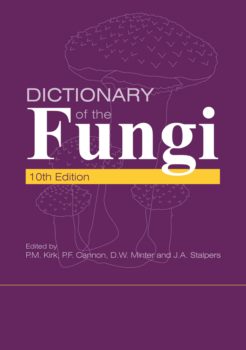 The cover image of Dictionary of the Fungi, featuring four pale purple out