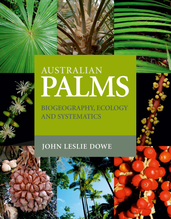 The cover image of Australian Palms, featuring rectangular images of palm