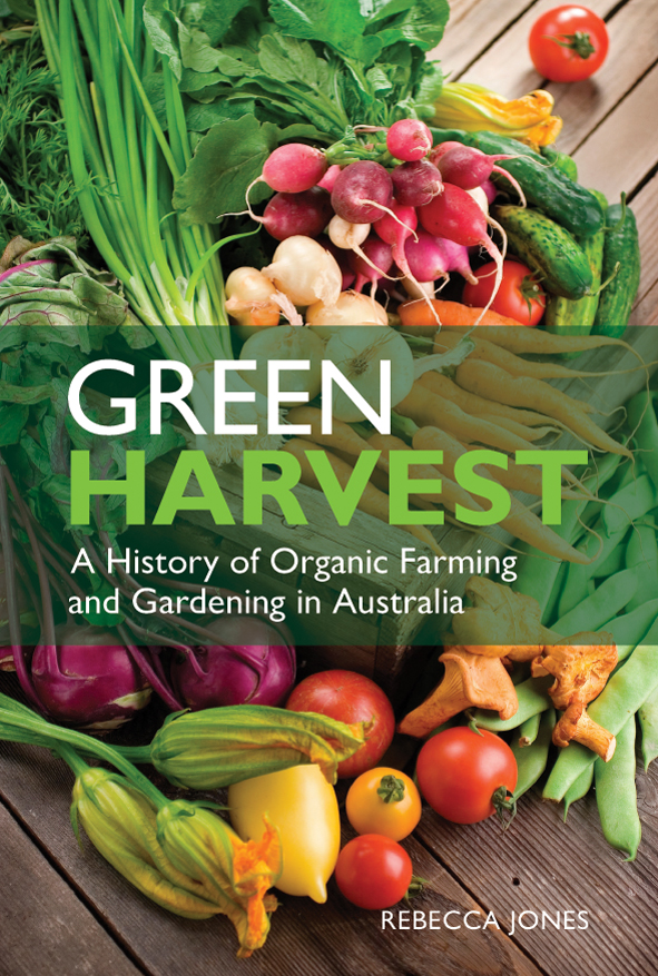 The cover image of Green Harvest, featuring various brightly coloured vege