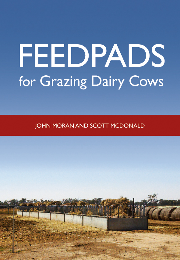 The cover image of Feedpads for Grazing Dairy Cows, featuring a long feedp
