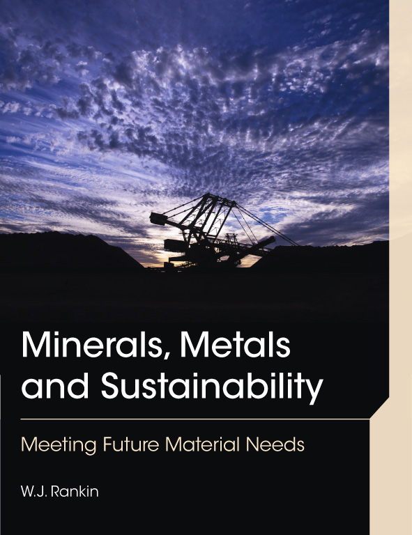 The cover image of Minerals, Metals and Sustainability, featuring a black