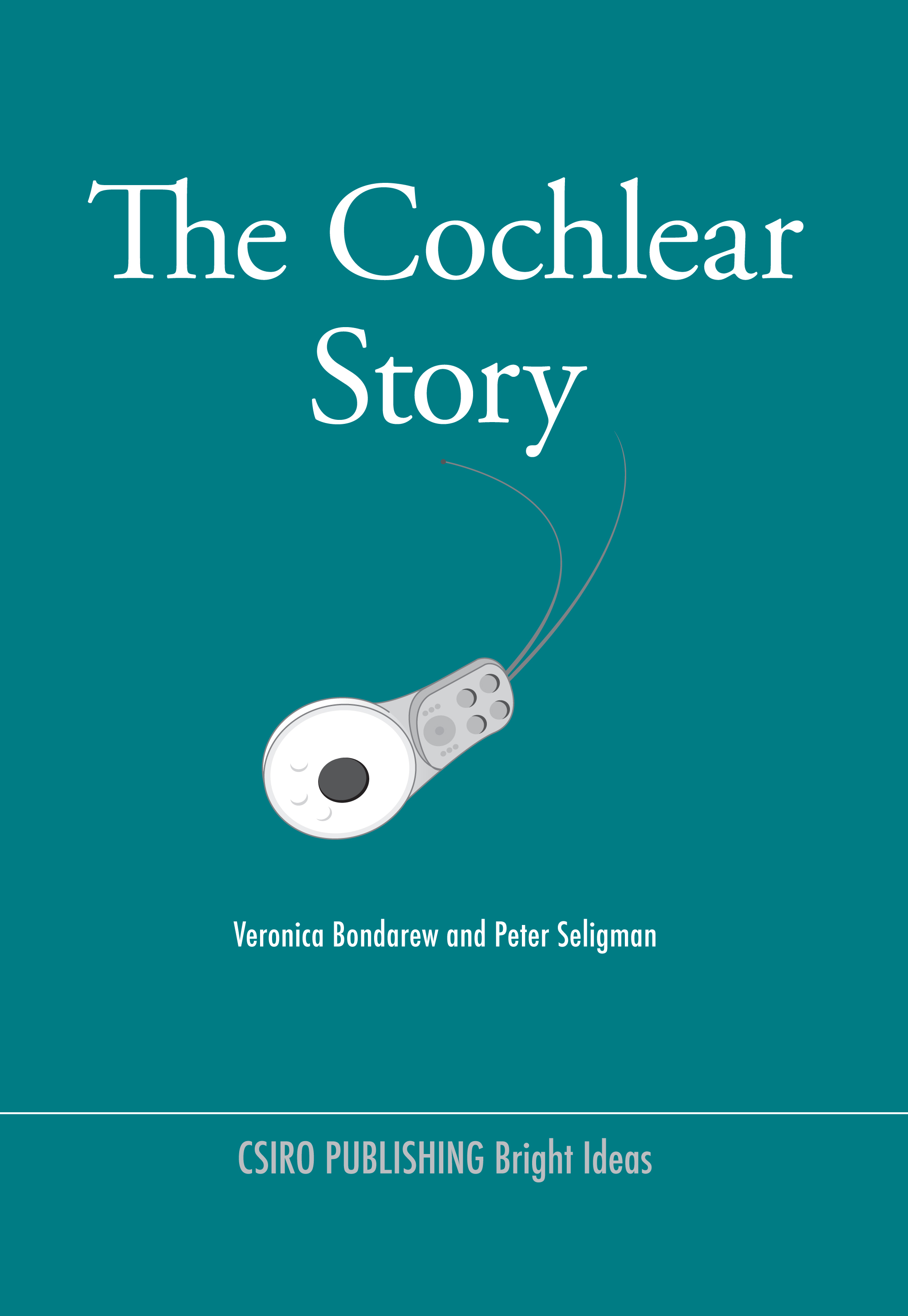 The cover image of The Cochlear Story, featuring a white cochlear hearing