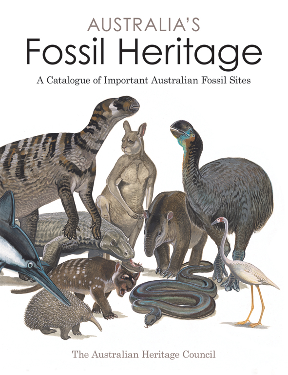 The cover image of Australia's Fossil Heritage, featuring various extinct