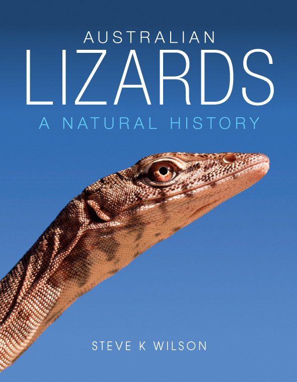 The cover image of Australian Lizards, featuring a close up side view of a