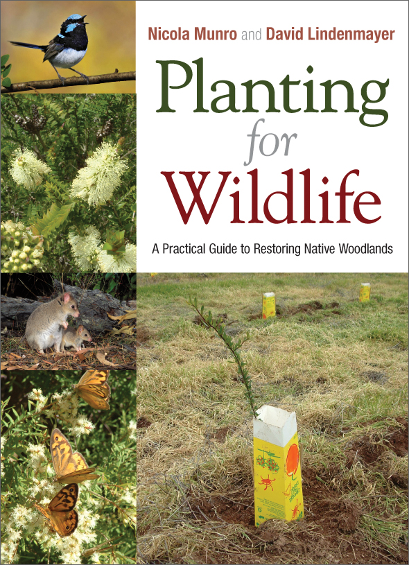The cover image of Planting for Wildlife, featuring pictures of birds, but
