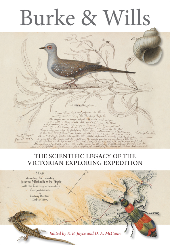 The cover image of Burke and Wills, featuring illustrations of a bird, liz
