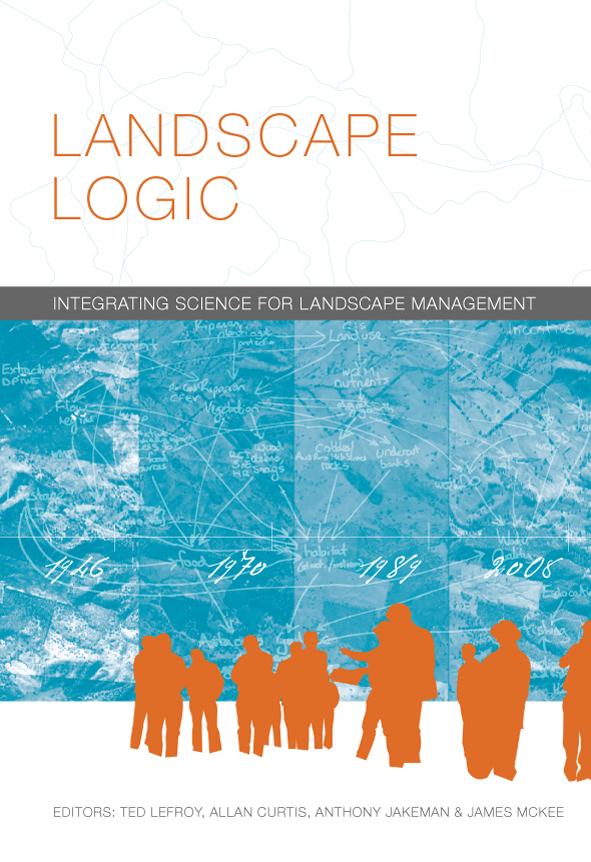 The cover image of Landscape Logic, featuring orange silouettes of people