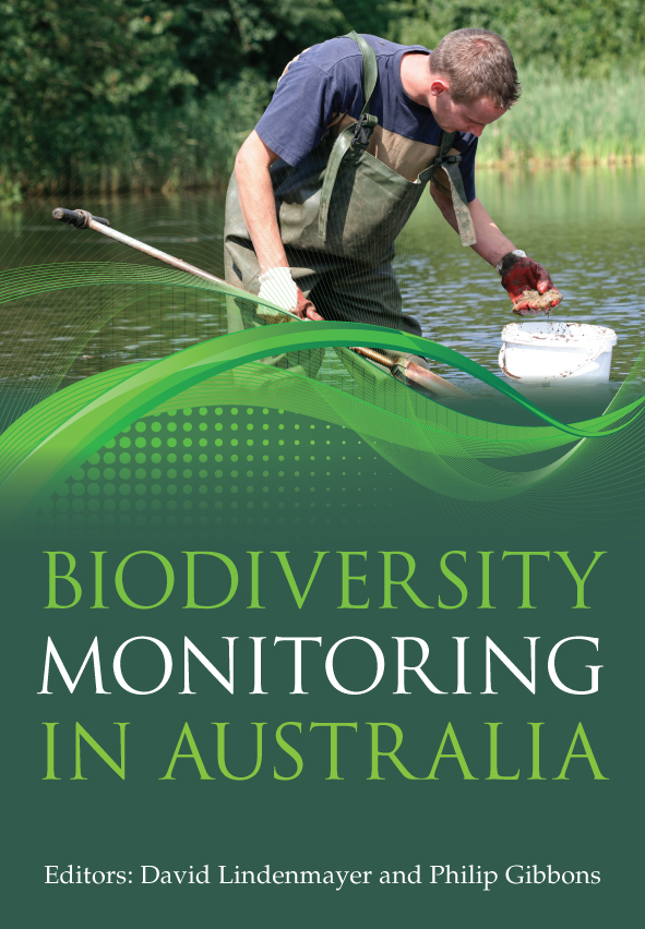 The cover image of Biodiversity Monitoring in Australia, featuring a man w