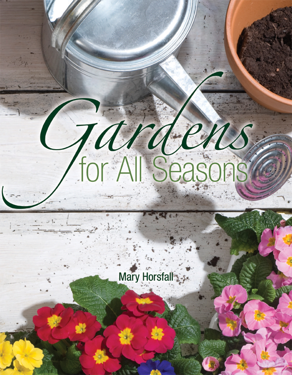 The cover image of Gardens for All Seasons, featuring a watering can and f