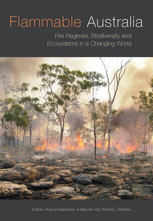 The cover image of Flammable Australia, features a photograph of bushland