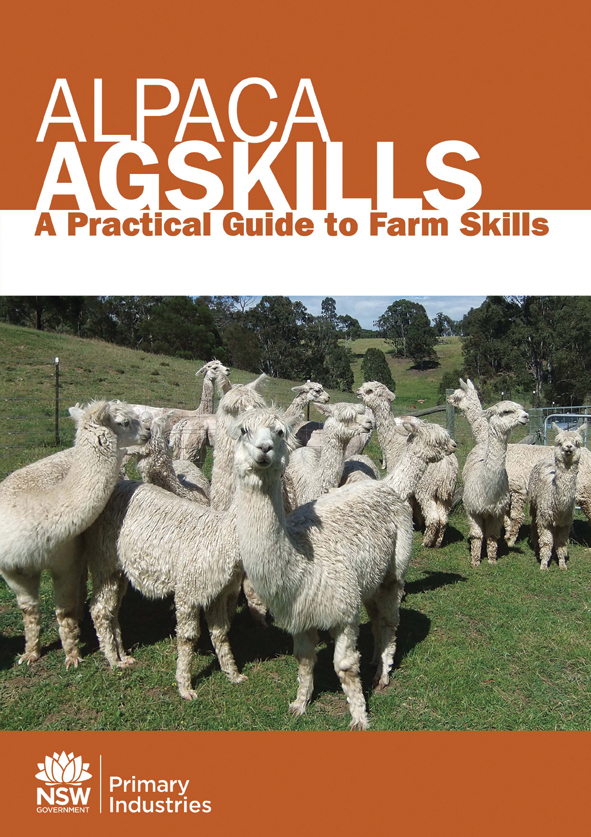 Cover image of Alpaca Agskills, features group of white alpacas with green