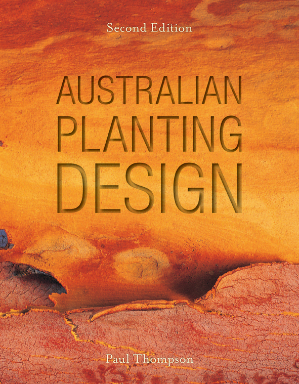 The cover image of Australian Planting Design, features a yellow, orange a