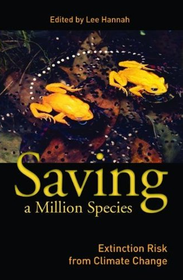 Cover image of Saving a Million Species, features two bright yellow frogs