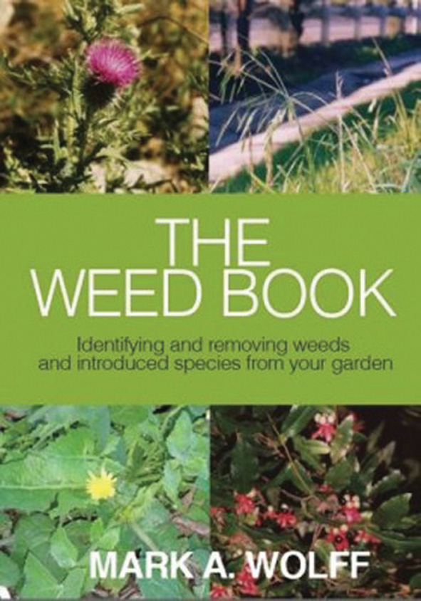 Cover image of The Weed Book, features four square photographs of weeds in