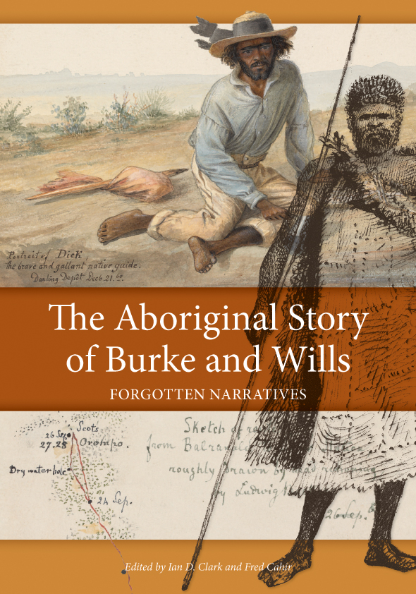 The cover image of Aboriginal Story of Burke and Wills, is broken up into
