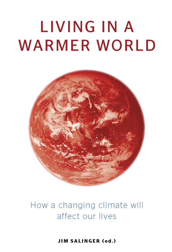 The cover image of Living in a Warmer World, featuring a picture of the ea