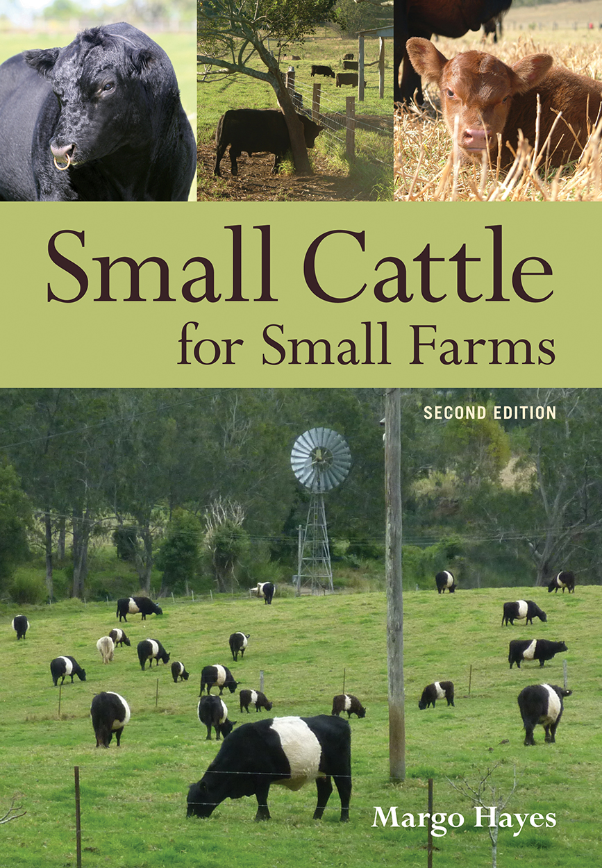 Cover image of Small Cattle for Small Farms Second Edition featuring a pan