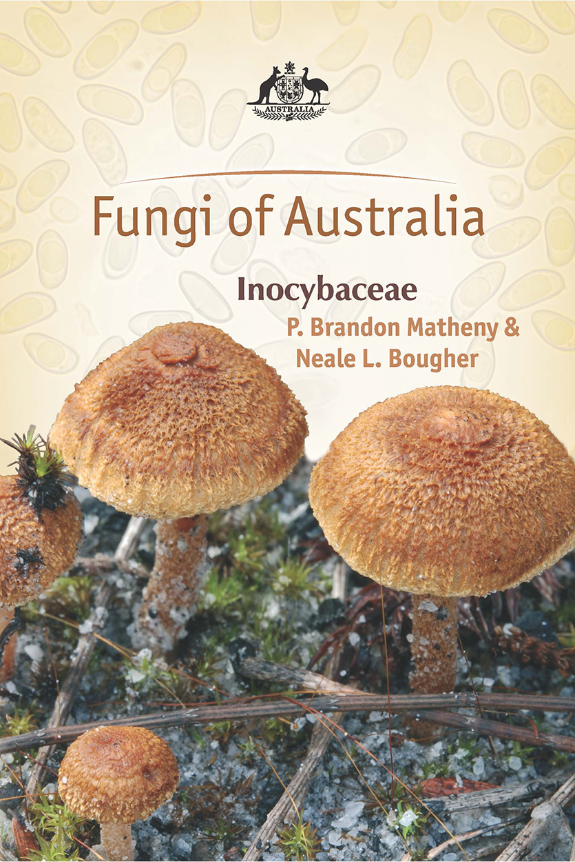 Cover featuring a photo of brown Inocybaceae mushrooms against a beige bac