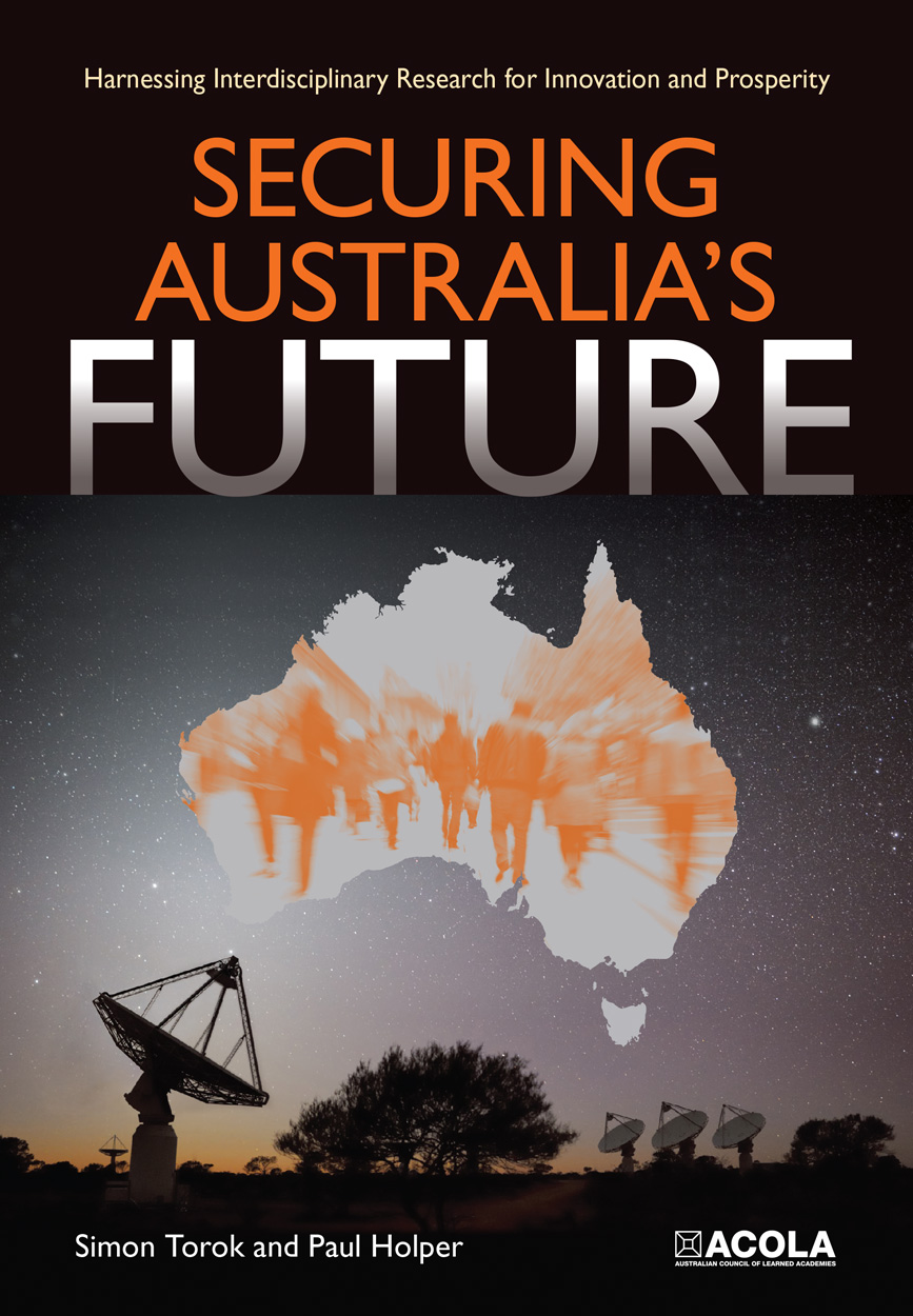 Cover with satellite dishes pointing to a map of Australia filled with an