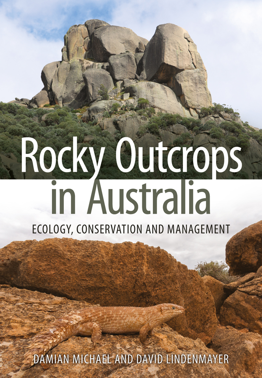 Cover of Rocky Outcrops in Australia featuring two photos: at top, a rocky