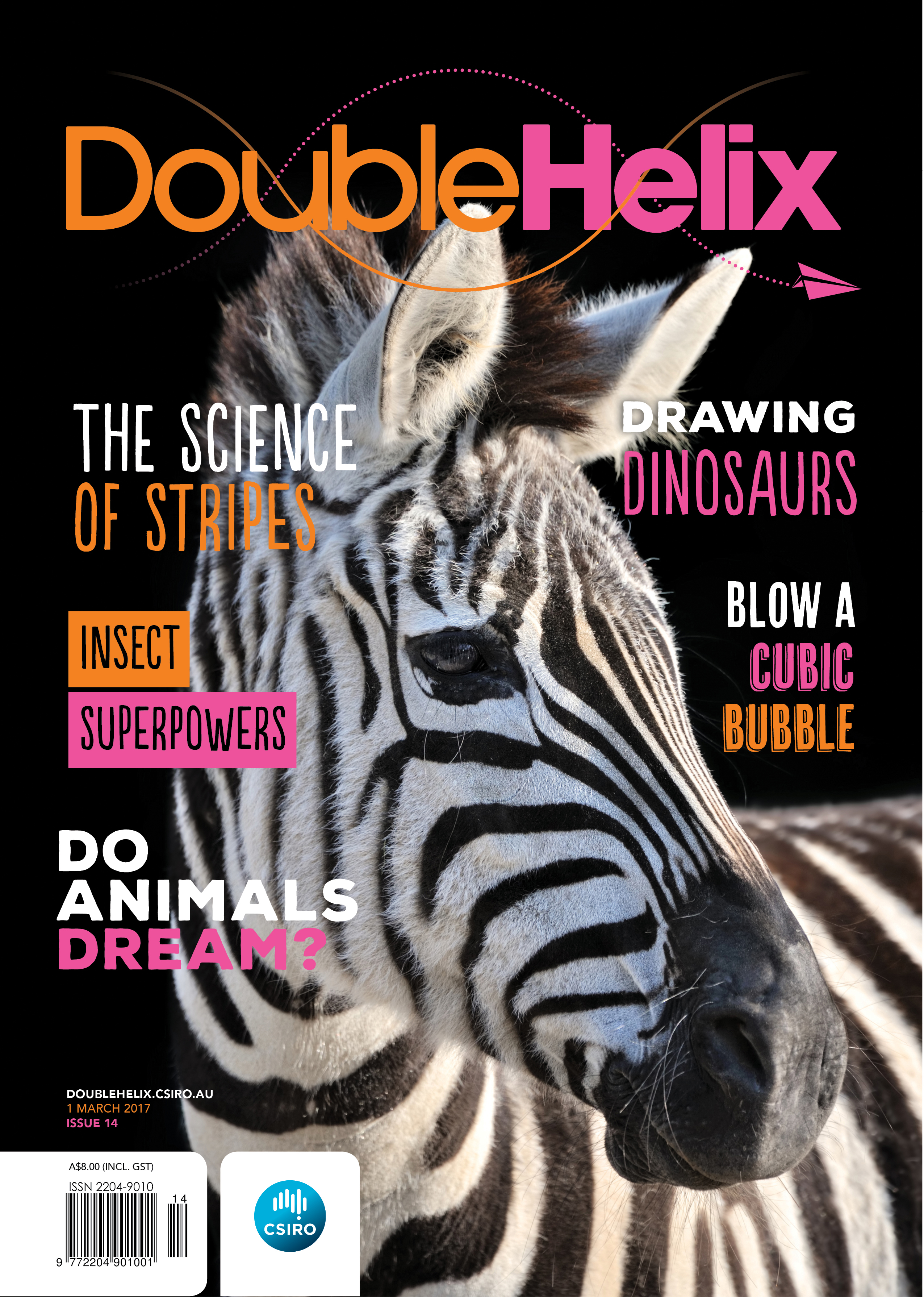 Magazine cover with photograph of zebra head