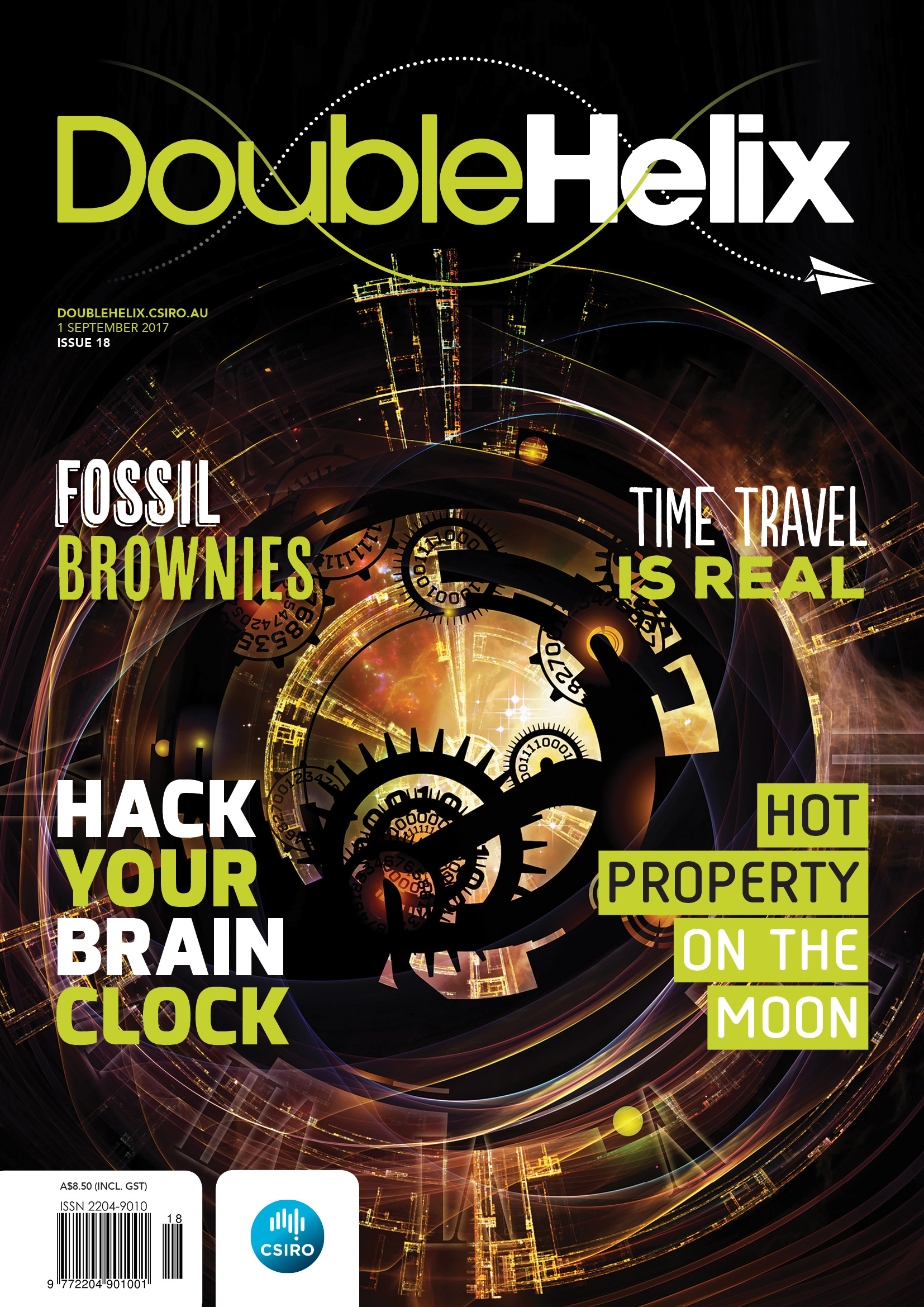 Cover with abstract image of mechanical clockworks and gears.