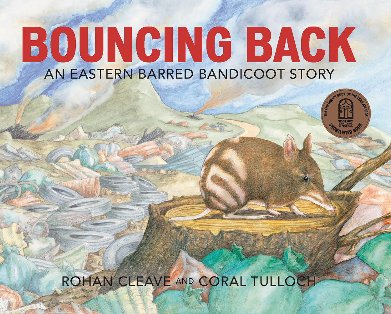 Cover featuring an illustration of an Eastern Barred Bandicoot on a tree s