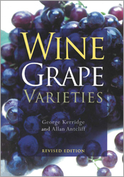 The cover image of Wine Grape Varieties, featuring a bunch of purple grape