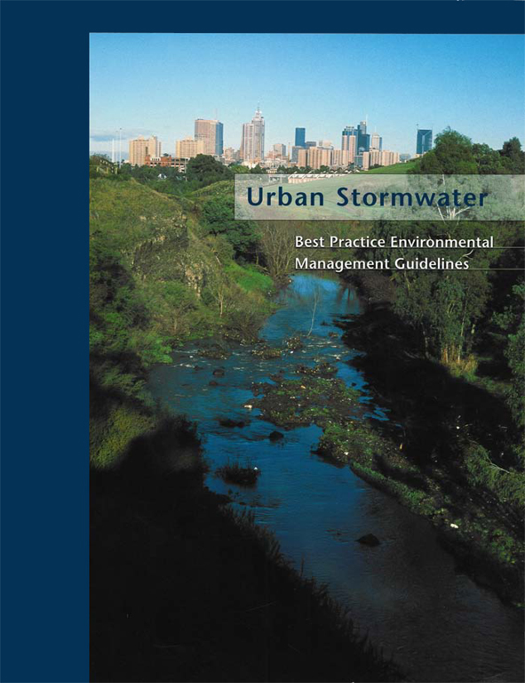 The cover image of Urban Stormwater, featuring a storm water creek and emb