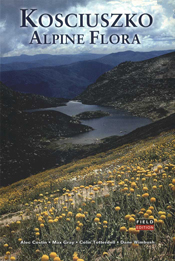 The cover image of Kosciuszko Alpine Flora, featuring a panoramic view of