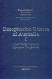 The cover image of Oecophorine Genera of Australia I, is plain blue with s