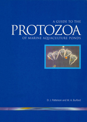 The cover image of Guide to Protozoa of Marine Aquaculture Ponds, featurin