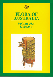 The cover image of Flora of Australia Volume 58A, featuring a log with lic