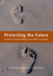 The cover image of Protecting the Future, featuring sand with two footprin