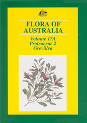 The cover image of Flora of Australia Volume 17A, featuring a Grevillea br