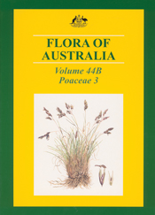 The cover image of Flora of Australia Volume 44B, featuring grass with pur
