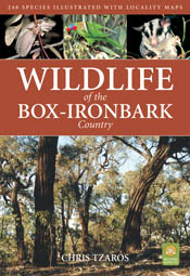 The cover image of Wildlife of the Box-Ironbark Country, featuring tall tr